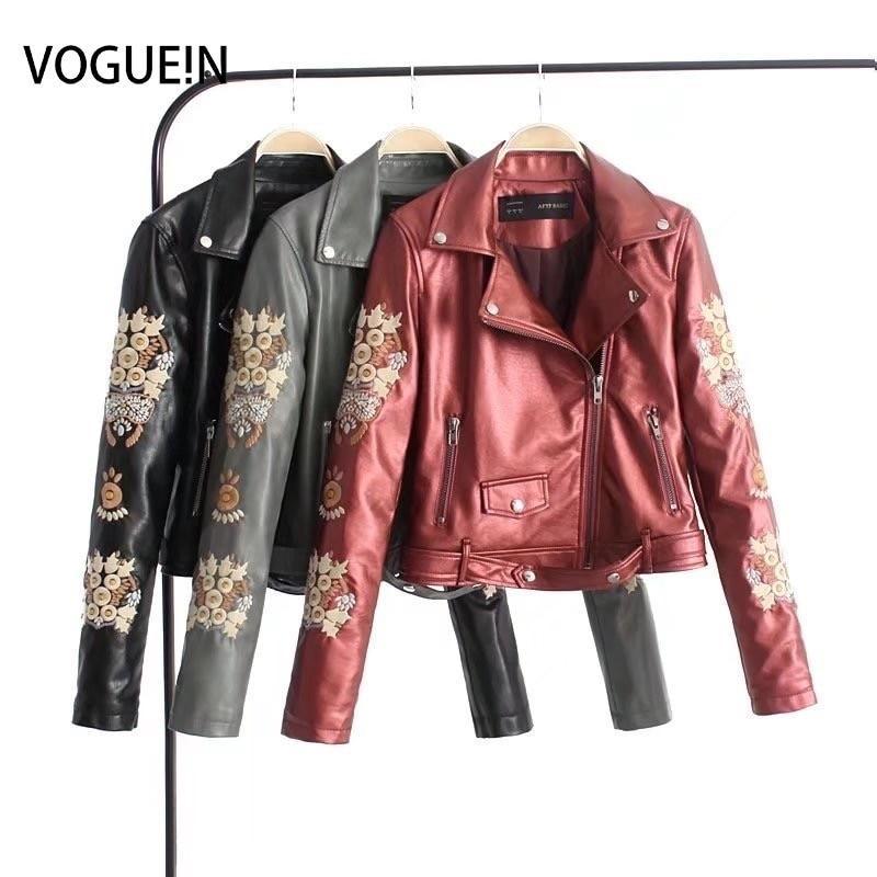 Cuir Simili Noir Voguein Gris Rouge Gros Blouson Nouvelles Brodé gris Floral Femmes Noir rouge En Manteau w0Bq8rWO0