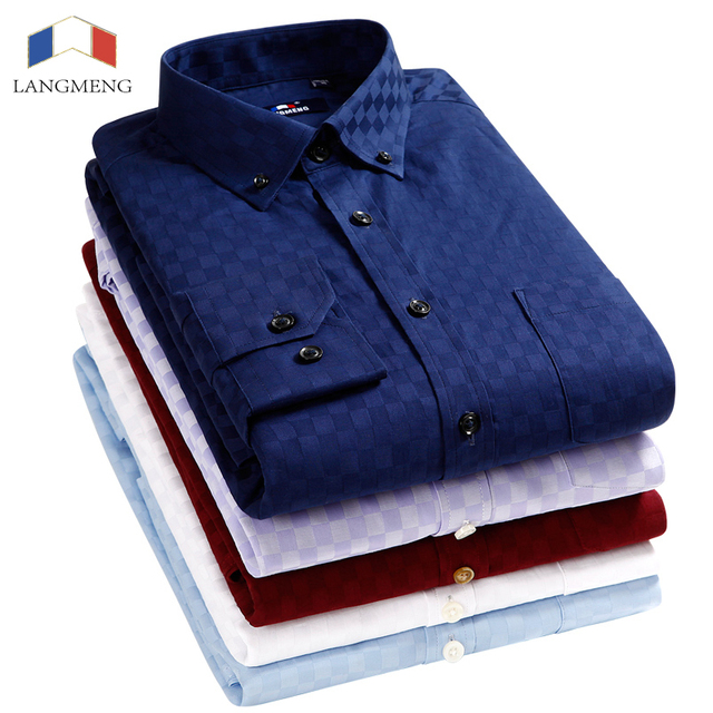 Langmeng Mens Solid Color Long Sleeve Slim Fit Dress Shirt Camisa Hombre Chemise Homme Stylish Casual Shirt Men Camisa Masculina