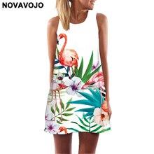 NOVAVOJO 2018 Summer Dress Floral Print Boho Dresses For Women Casual Dresses Beach Sundress Sleeveless Flamingo Chiffon Dress