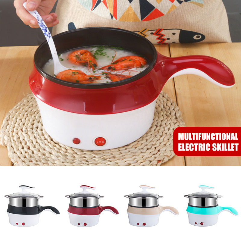 20cm Pot 2.5L Non-Stick Pan Electric Steamer Electric Hot Pot Steamed Boiled Multi-Function Electric Cooker Electric Wok