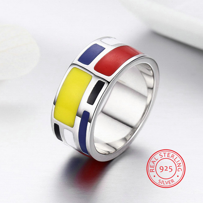 Classic Mondrian Style 925 Sterling Silver Rings Fashion Rings Red&Blue&Yellow Color For Men Women Fashion anillos hombre fashion blue twill jacquard red tie for men