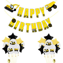 Construction vehicle Excavator Theme Happy Birthday Banners Confetti Latex Balloon Party Decoration Baby Shower