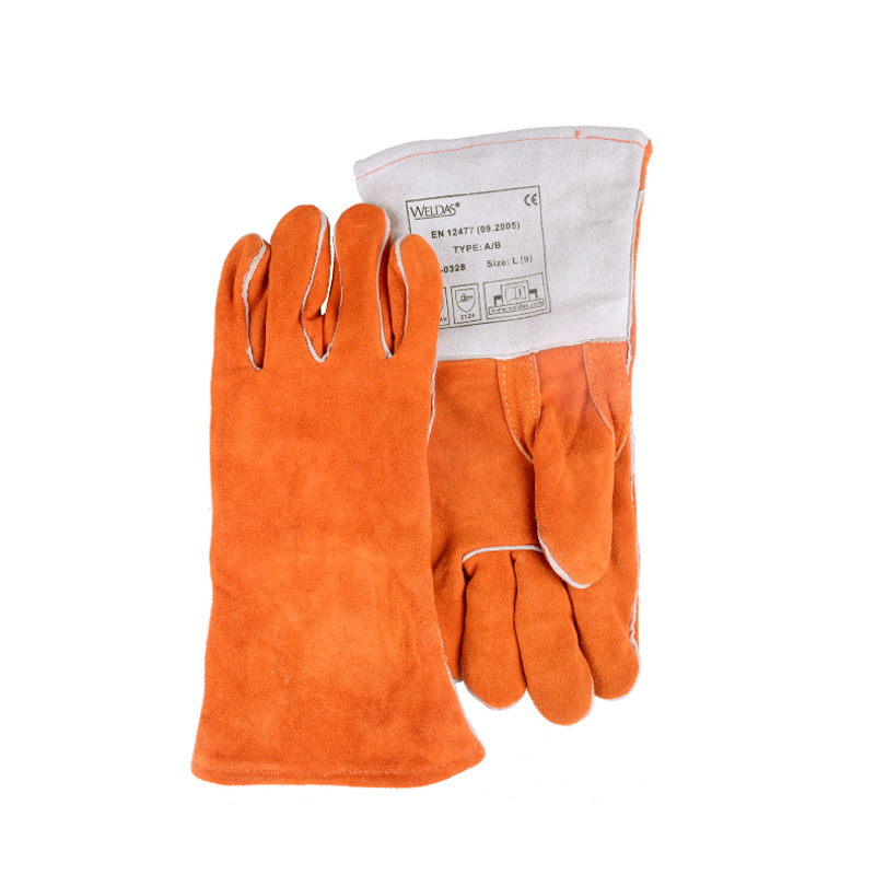 5 Pairs Weldas Long Cowhide Welding Gloves Welders High Temperature Fire Resistance Safety Leather Working Gloves welding welders work soft cowhide