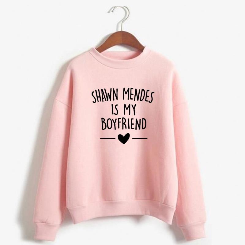 Autumn Winter Sweatshirt Shawn Mendes Is My Boyfriends Letter Printed Casual Sweatshirt Shawn Mendes Hoodies Women Men Harajuku