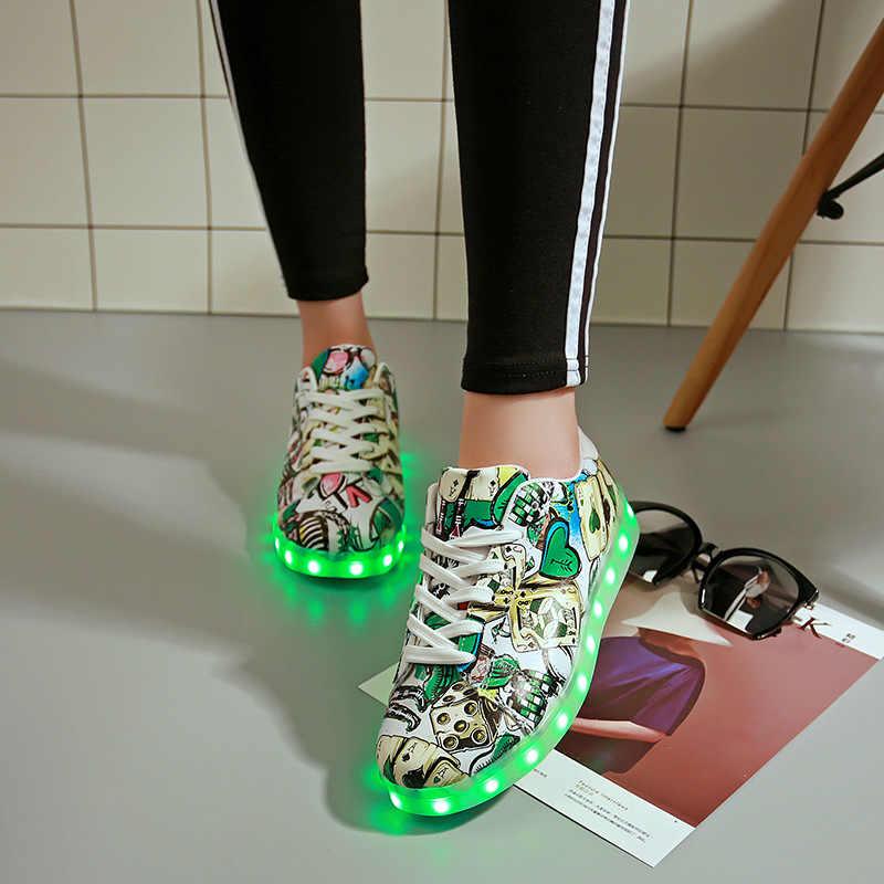 2019 חדש LED זוהר נעלי USB טעינה גברים נשים מבוגרים סניקרס זוהר ילד ילדה Led כפכפים מקרית נדלק מואר נעליים