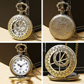 Bronze Vintage Hollow Pocket Watch Men Women Gift Pendant Quartz Fob Watches Hours P429