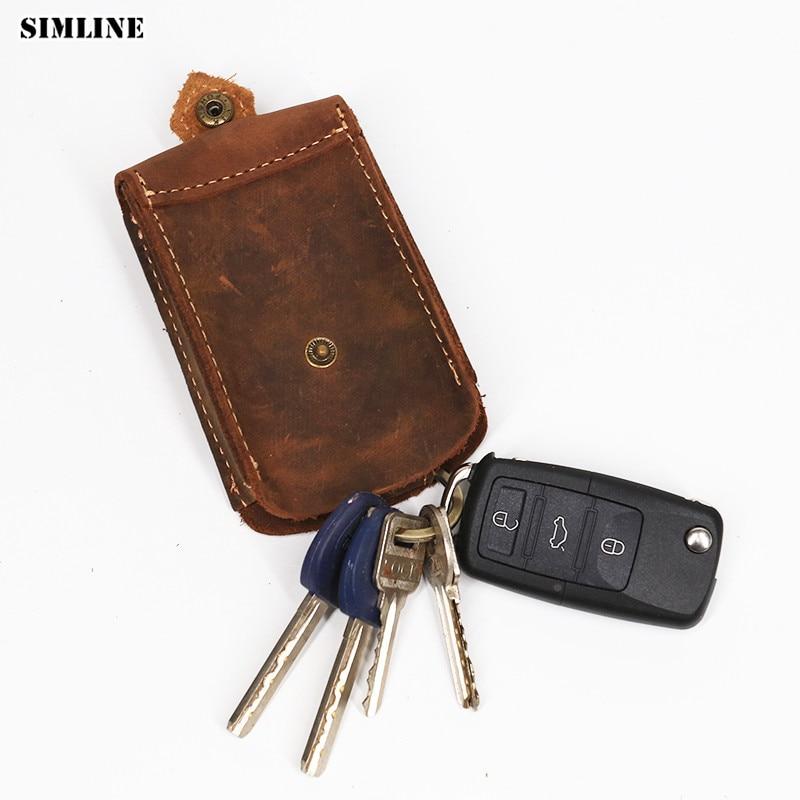 SIMLINE Echtes Leder Schlüsselmappe Männer Vintage Crazy Horse Rindsleder Autoschlüssel Brieftaschen Halter Tasche Haushälterin Organizer Pouch