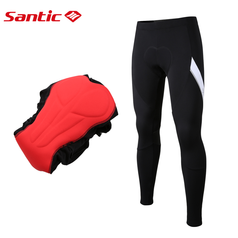 Santic Men 4D Padded Winter Pants  Cycling Reflective Bicycle Pants MTB Fleece Thermal Warm Elastic Tight Long Pants