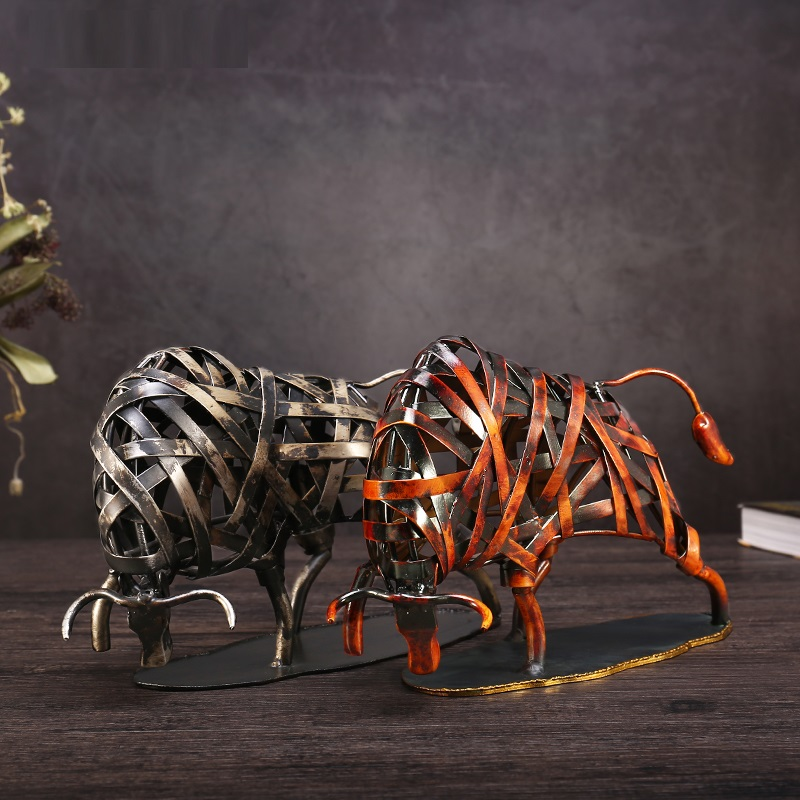 Metal Weaving Cattle Statuette Red Iron Art Sculpture Figurine Modern Home Decoration Accessories Animal Craft Gift L3037