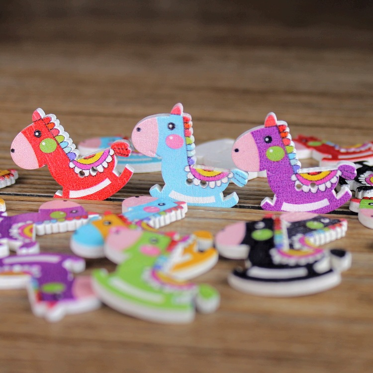 100PCS Baby shower decoration party favors diy craft scrapbook wooden rocking horse candy box accessory wedding decoration