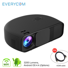 Everycom CL760 3200 Lumen Support 1080P Video Audio Games TV Home Theater Beamer Projector Option CL760UP Android WIFI Projecyor