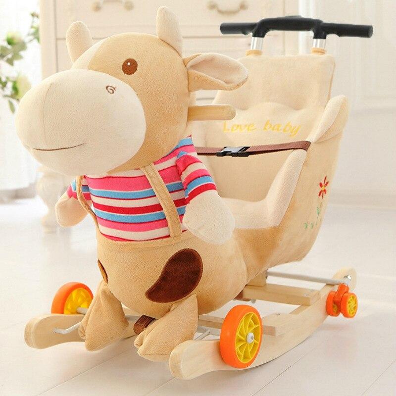 Enfants à bascule chaises bébé à bascule cheval Ride sur animaux jouets double usage avec musique bébé videur roue chaise poussette 5M ~ 4Y - 5