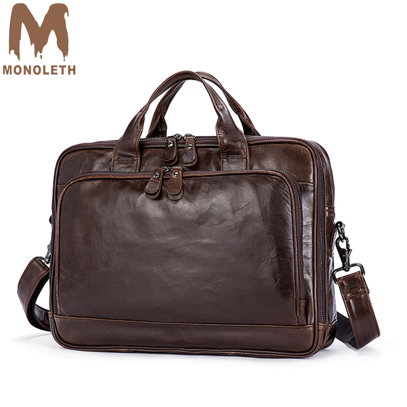 MONOLETH 2018 New Men's Casual Business Briefcase Laptop Messenger Bag genuine leather briefcase handbag Men Travel bag wieco art modern 100