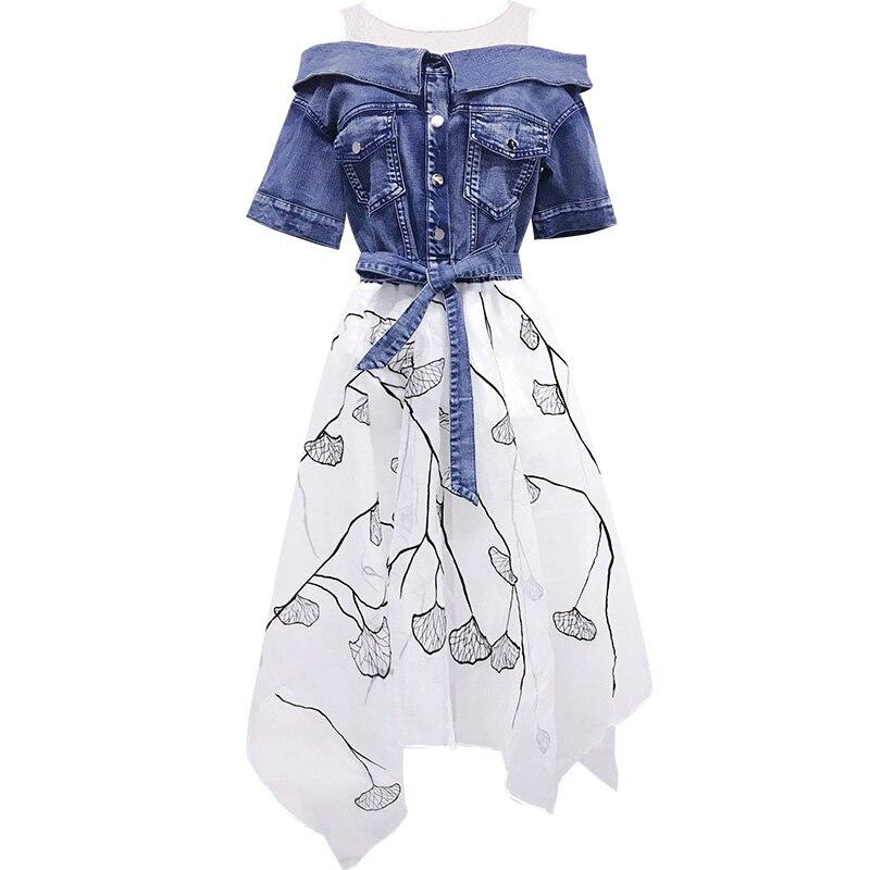 Blue D'été 2019 Une Irrégulière Robes Style Patchwork Faux Denim Mince Nouveau Ceintures Femme 2 Robe Femmes Maille L'ukraine Ligne Pcs 7xIxHw