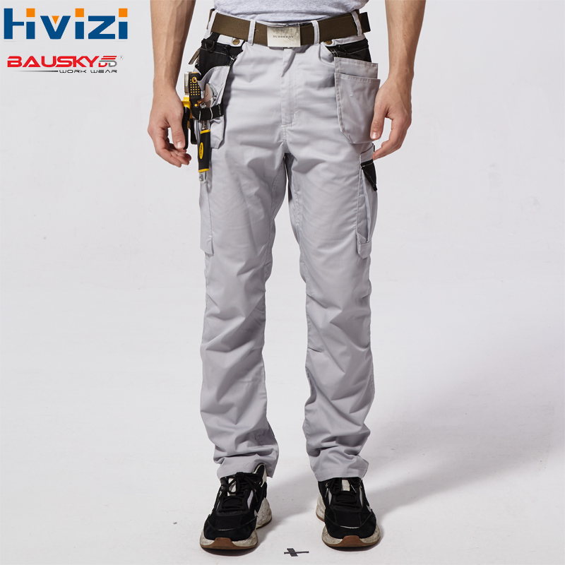 Men Work Pants Multi Pockets Tool Trousers Summer High Quality Safety Worker Mechanic Cargo Pant Workwear Pants Grey B218