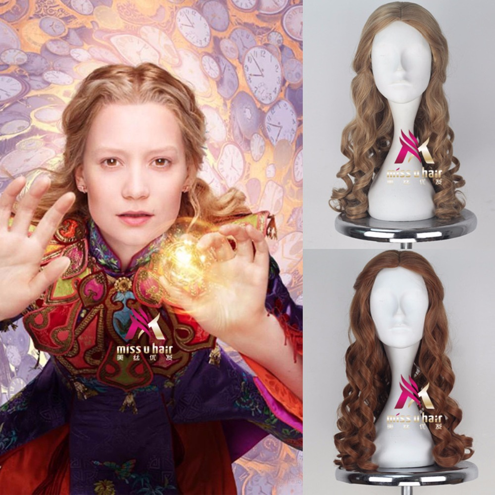 Alice Cosplay Wig Film Alice in Wonderland Curly Long Brown Synthetic Hair for Adult