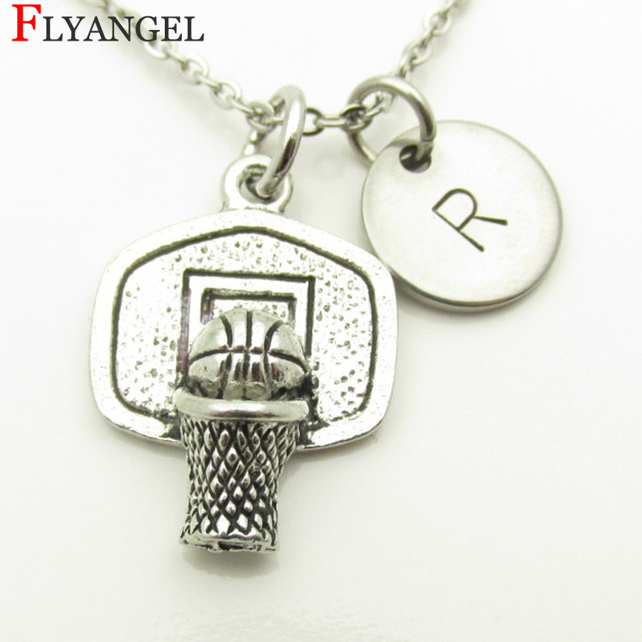Motivation Men Women Gift Exercise Neck Fashion Jewelry Choose A-Z Initial Letter Mini Basketball Hoop Alloy Pendant Necklace