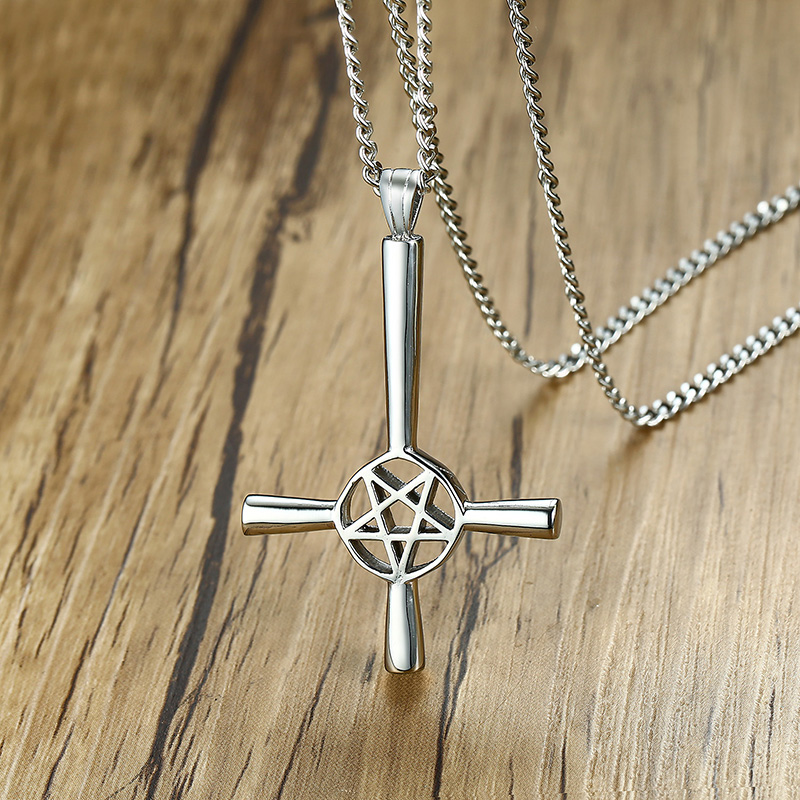 Silver Plated Inverted Cross Occult Satanic Pendant