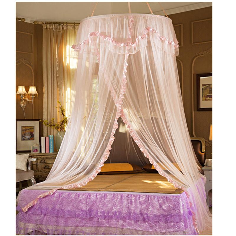 estilo rosado de la princesa cortina de encaje mosquiteros mosquiteros para cama de matrimonio para nios