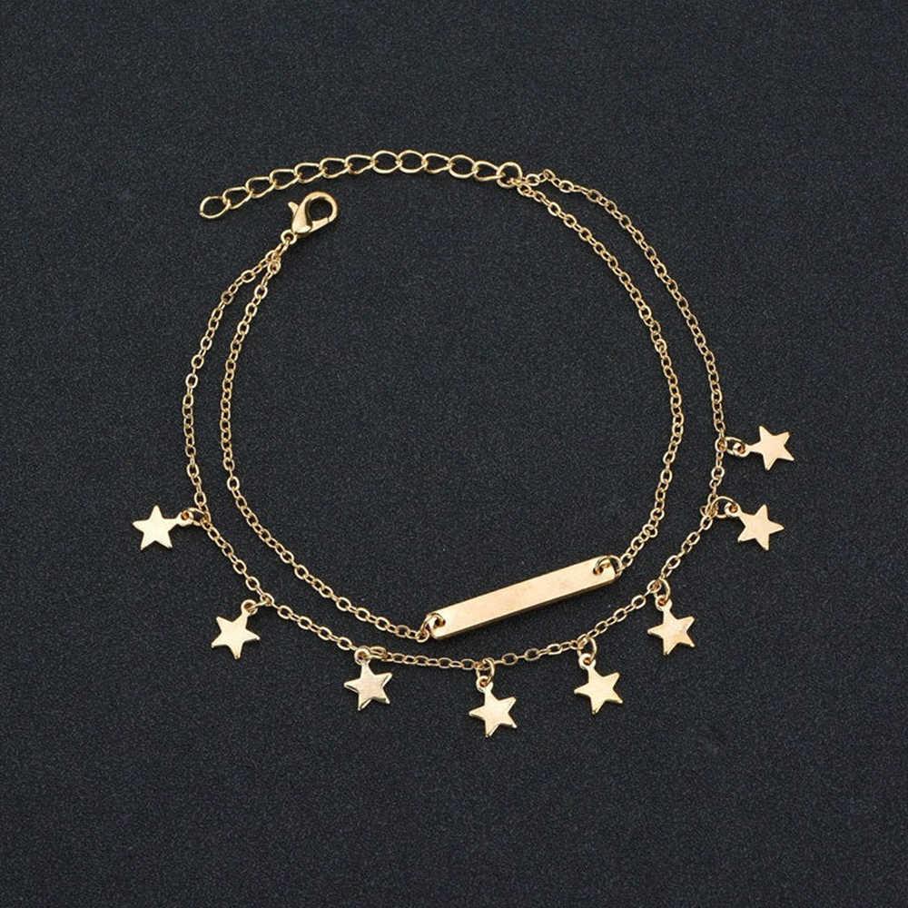 Pentagrams Chân Vòng Tay Thép không gỉ Mắt Cá Chân Vòng Tay 2 Lớp Anklets Nữ Thời Trang Phụ Kiện Trang Sức Chân Đi Biển