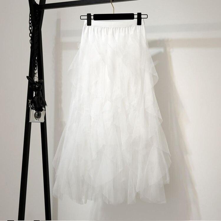 Women irregular Tulle Skirts Fashion Elastic High Waist Mesh Tutu Skirt Pleated Long Skirts Midi Skirt Saias Faldas Jupe Femmle 54