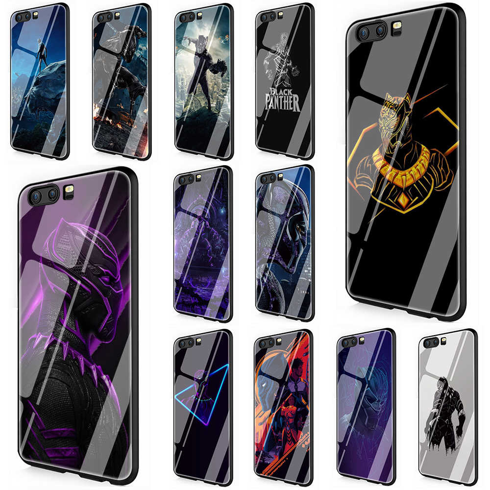 Marvel Heroes Black Panther Tempered Glass TPU Cover Case for Huawei P10 P20 Mate 20 Honor 9 10 Lite Pro 7A 8X P Smart