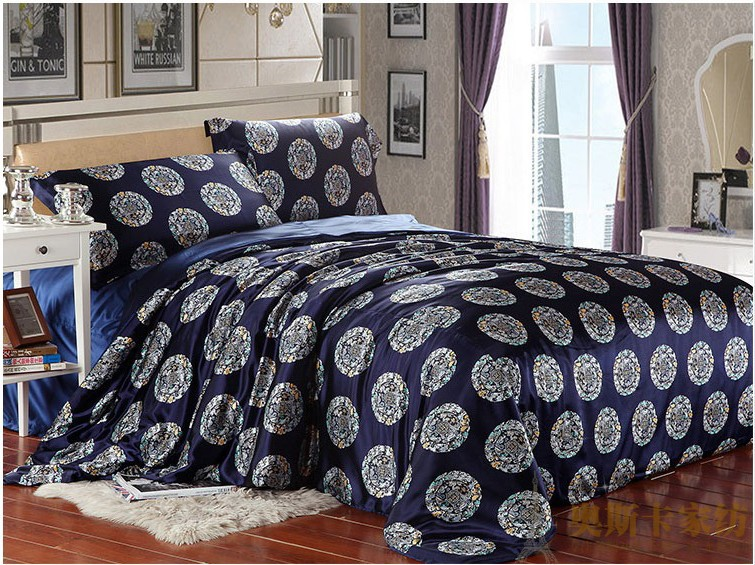Blue Dragon Silk Satin Luxury Bedding Comforter Set For