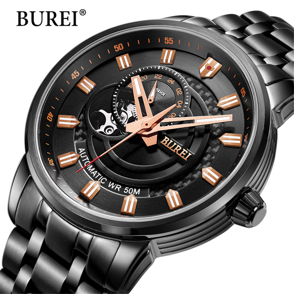 2017 New BUREI Luxury Sport Clock Men Automatic Watch Skeleton Military Mechanical Watch Relogio Male Montre Relojes Mens Watch new relogio esqueleto winner mens watches luxury sport men s automatic skeleton mechanical military watch relogios masculinos