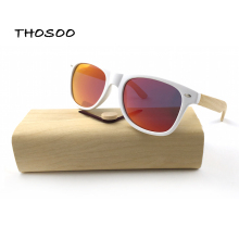 THOSOO Ecofriendly Bamboo Sunglasses with White Frames