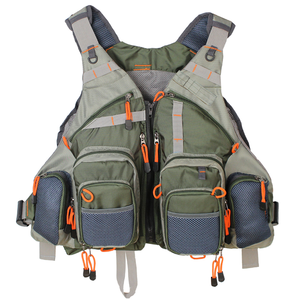 Men's Fly Fishing Vest Adjustable Size Multiple Pockets Bass Fishing Mesh Backpack For Men And Women