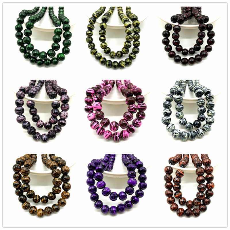 Wholesale 6/8/10mm Glass Beads Round Loose Spacer Beads Pattern For Jewelry Making DIY Bracelet Necklace