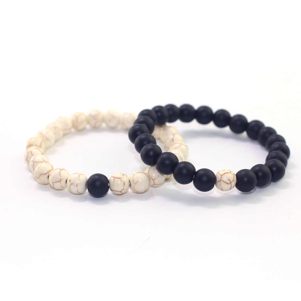 טבעי אבן שחור מט לבן אורן אבן חרוזים צמיד גברים תכשיטים נשי צמיד Pulsera דה Mujer יוגה צמיד