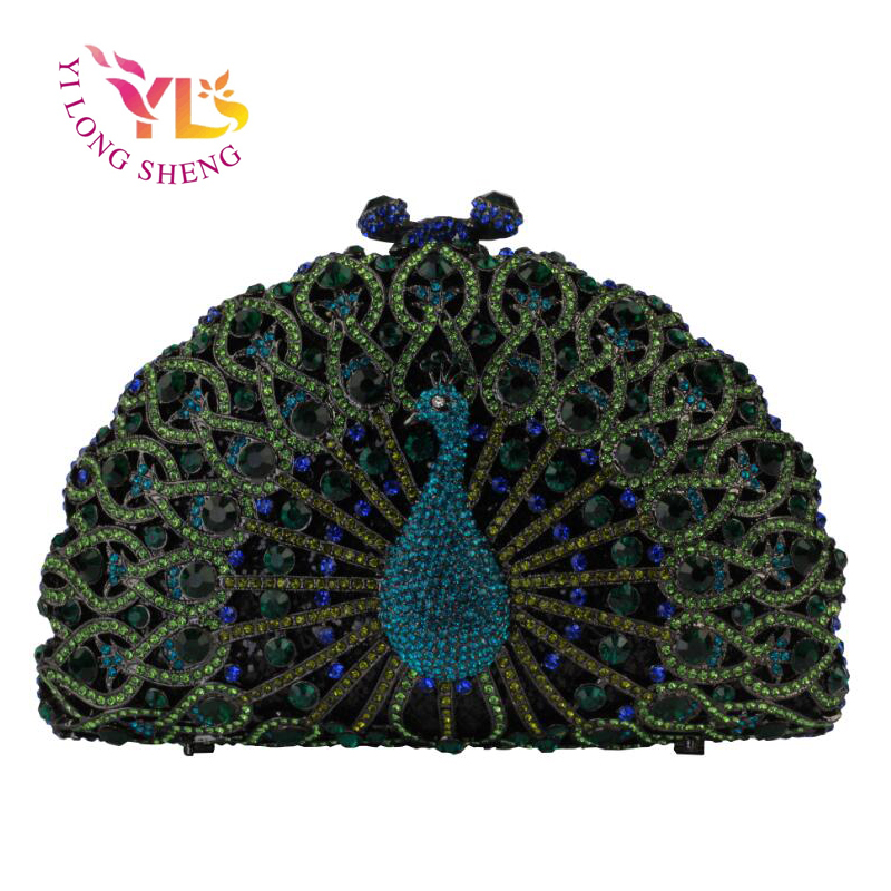 Women Clutch Rhinestone Peacock Clutch Evening Party Bags Delicately Hand Made Clutch Bags Women Handbags Crossbody Bag YLS-A21