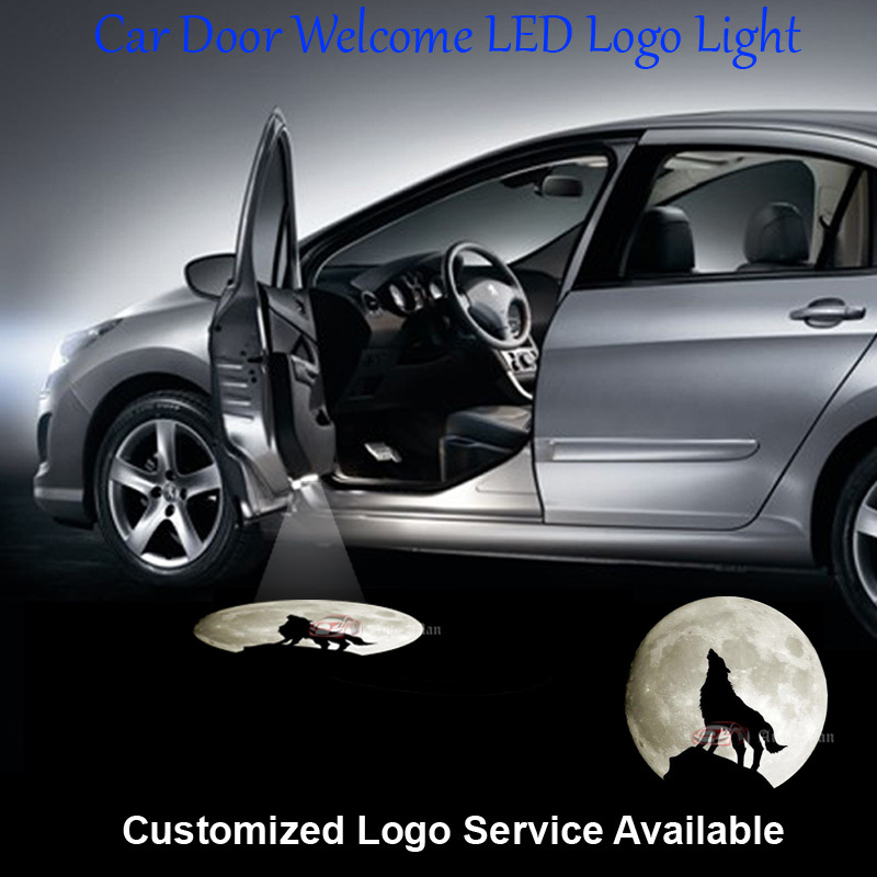 2x Wolf Moon Knight Logo Wired and Drill Car Door Welcome Step Courtesy Laser Projector Ghost Shadow Puddle LED Light #C0317