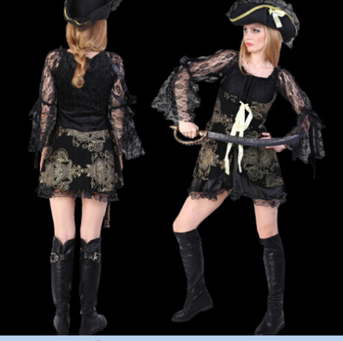 Pirates of the Caribbean cosplay black sexy dress+hat set Halloween carnival women sexy costume party costumes DS uniform Adult