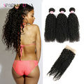 Grade 8A Malaysian Curly Hair With Closure Kinky Curly Hair 3 Bundles Human Hair With Closure Malaysian Virgin Hair With Closure