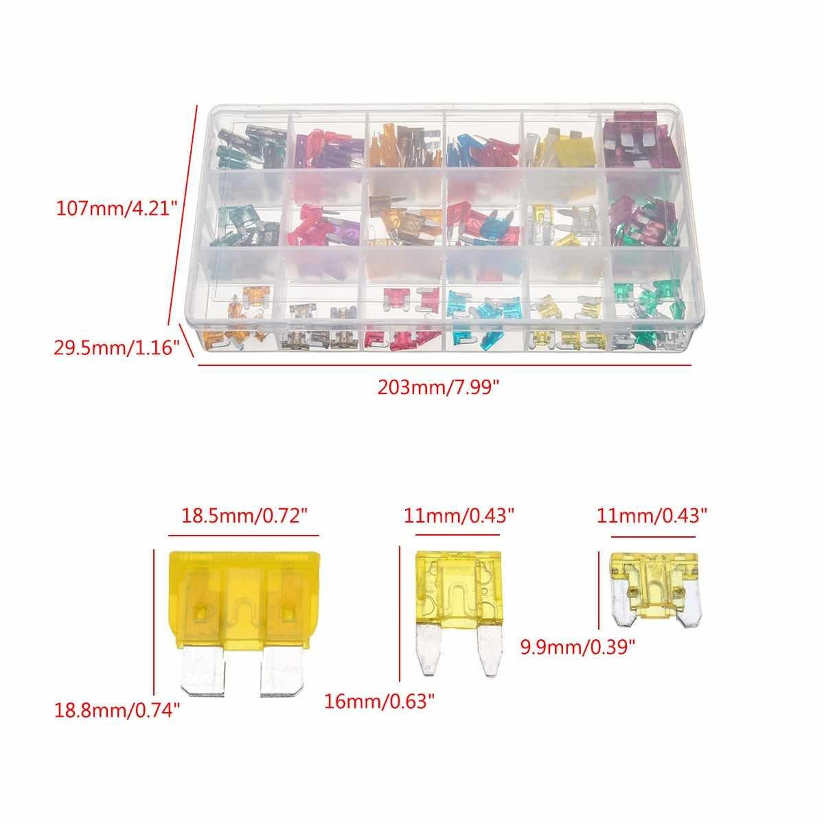 small resolution of  165pcs auto atc mini low profile blade fuse assortment kit box 1 40 amp car