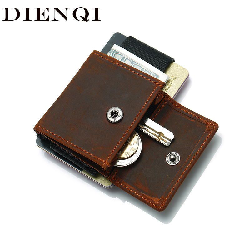 DIENQI Mini Slim Men Trifold Wallets Cow Genuine Leather Small Thin Minimal Magic Male Wallet Pocket Coin Purse Bag Smart Wallet