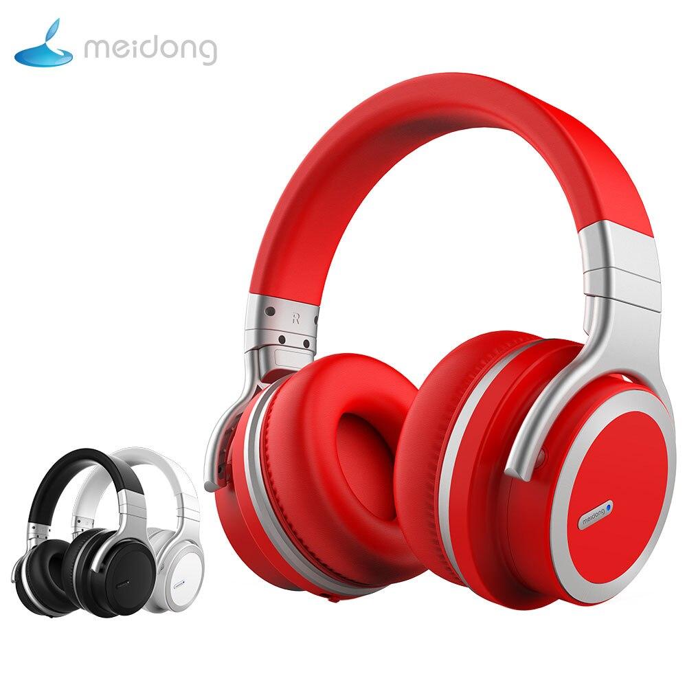 Meidong MDE7pro Active Noise Cancelling Fones De Ouvido Sobre A orelha fone de Ouvido sem fio Bluetooth com microfone para telefone 30 h playtime