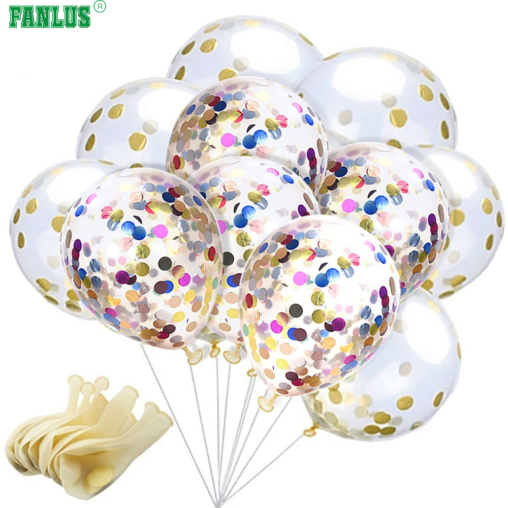 FANLUS Confetti Balloons 12 Inches Party Balloons With Golden Paper ...