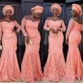 Robe De Soiree Classical Lace Sweetheart Neck  Long Sleeves Mermaid Long Bridesmaid Dresses 2016 Floor Length Bridesmaid Dress