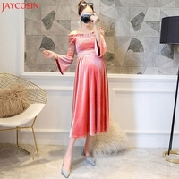 JAYCOSIN Elegent Velvet Flare Sleeve Off Shoulder Pregnant Dresses Pregnancy Dress for Autumn Winter Women Dress Feb 8
