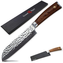 Damascus Kitchen Knives Japanese Damascus vg10 Santoku Knife Sushi Sashimi Vegetabels Cooking Tools Protection Sheath Gift Box(China)