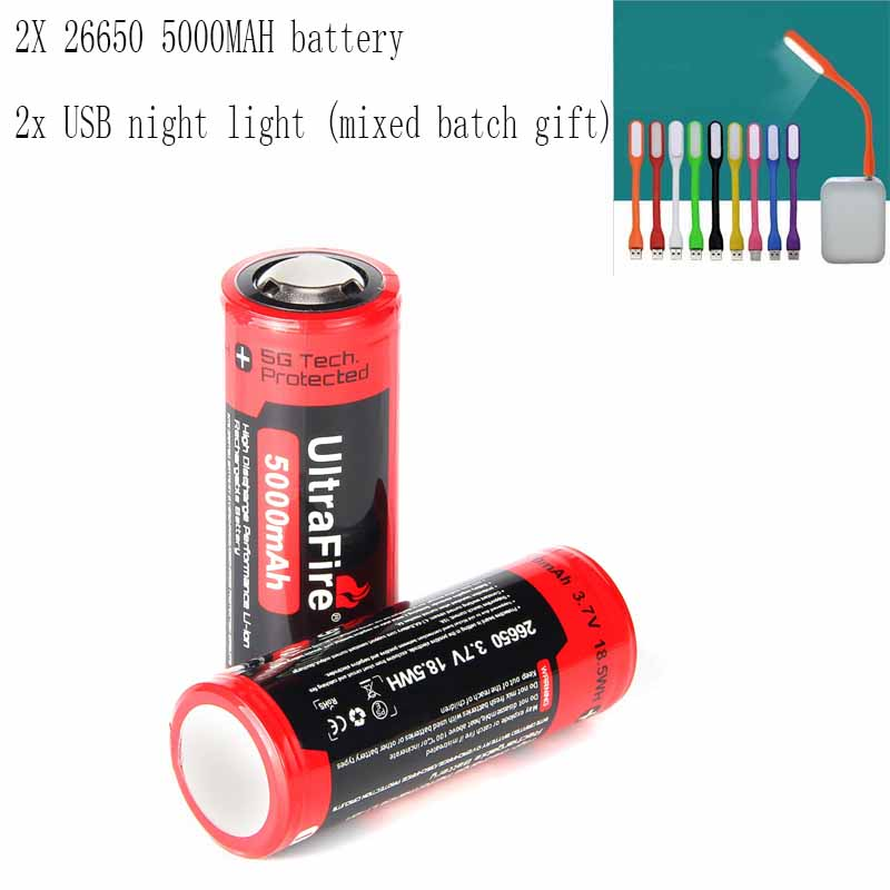 Ultrafire BRC 26650 3.7V 5000mAh Rechargeable Lithium Battery With Board Protection Torch Charging Bank Battery Luz USBLED Night