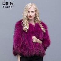 QIUSIDUN Real Fur Raccoon Coat A Woman's Warm Large Size For A Fashionable Winter Women Real Fox Fur Coats Russian Winter Coats