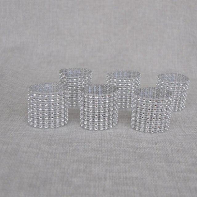 8 Rows Plastic Rhinestone Diamond Wrap Napkin Rings Buckle Wedding Decoration Home Decor Hotel Banquet Table Party Supplie