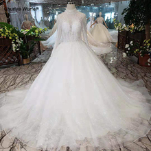 LS11026G bohemian wedding dresses 2019 beaded high neck long sleeves A-line beach gowns cheap like white bridal