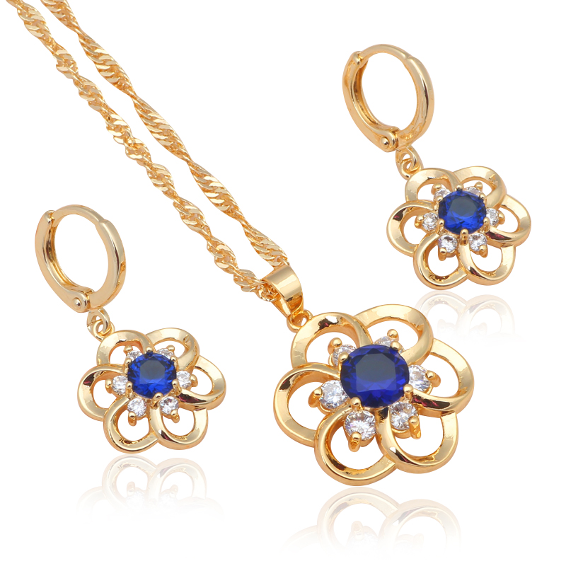 ̿̿̿(•̪ )Königlichen Großhandel modeschmuck gold-ton Blau Kristall ...