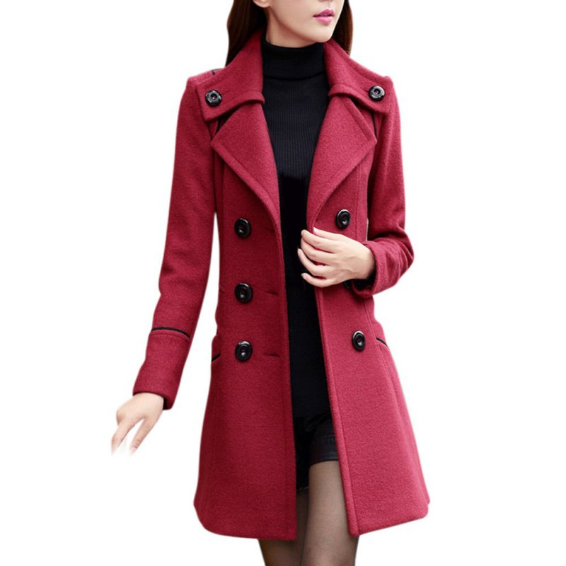 Double Breasted Overcoat Turn-down Collar Slim Outerwear Female   Trench   Coat Fashion Solid Winter Woolen Coats For Women 3164