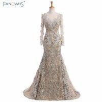 2017 Silver Mermaid evening Dresses long sleeves lace evening gowns kaftan dubai dresses muslim special occasion dresses abendkl